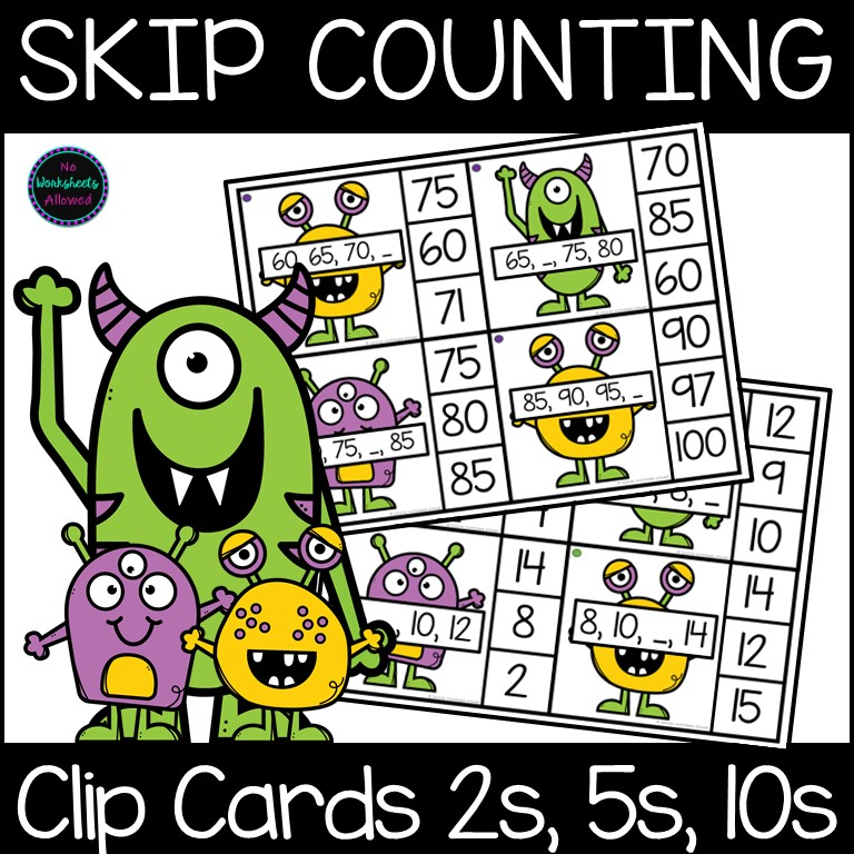 Skip Counting by 2, 5 and 10 Clip Cards