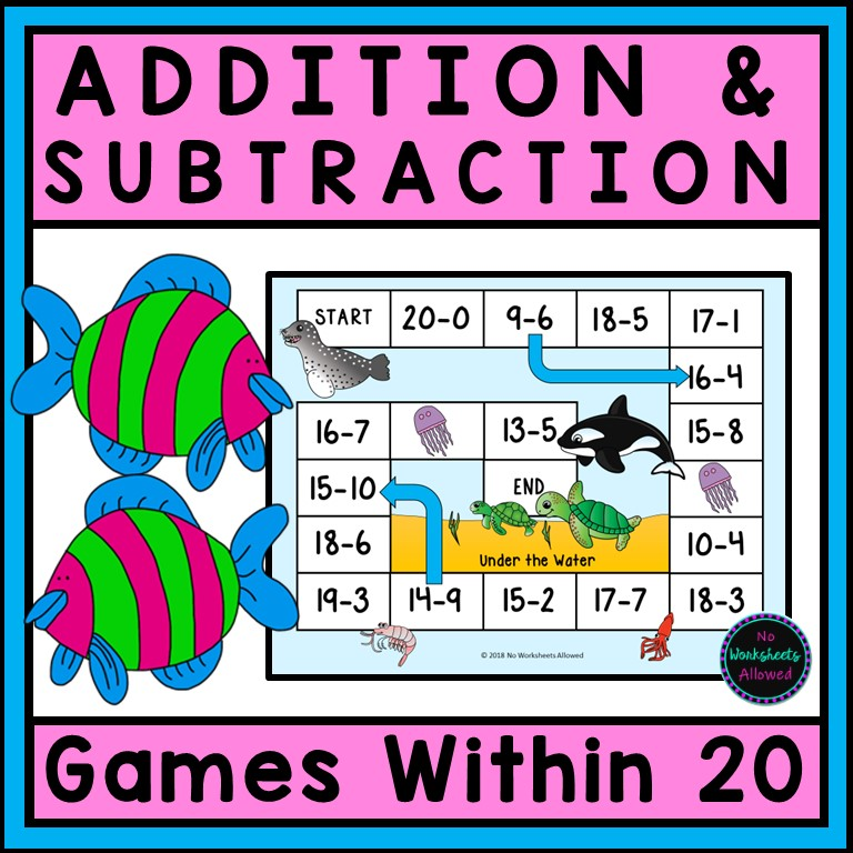 Kindergarten Addition and Subtractions Printable Games and Worksheets