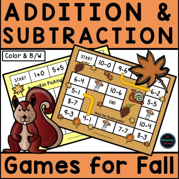 Kindergarten Addition and Subtraction Games for Fall Printables