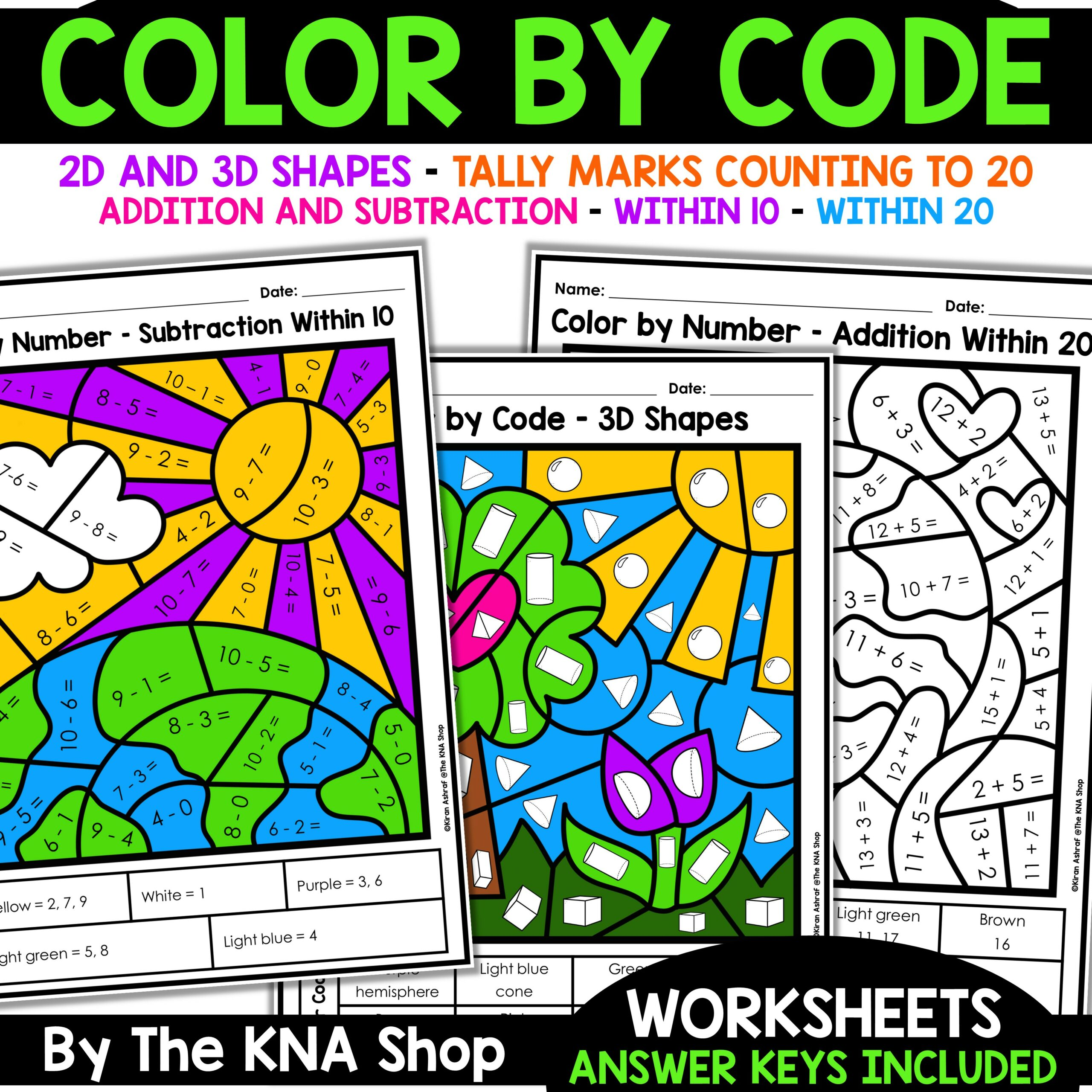 Color By Code Math Worksheets Printable