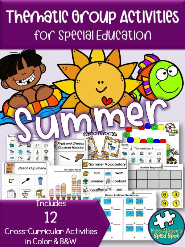 Summer Thematic Group Activities and Worksheets Special Ed