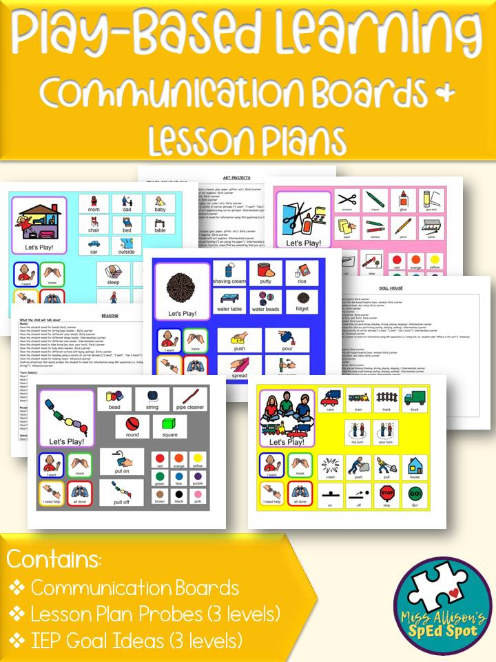 Play Based Learning Communication Boards Printable