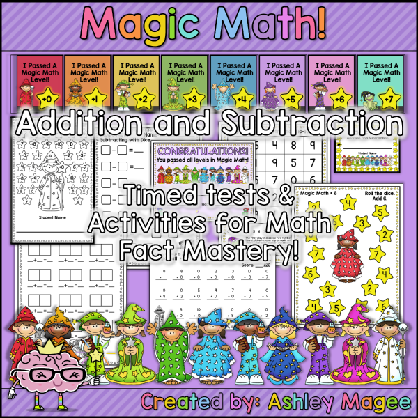 1st Grade Math Addition and Subtraction Timed Tests Printable