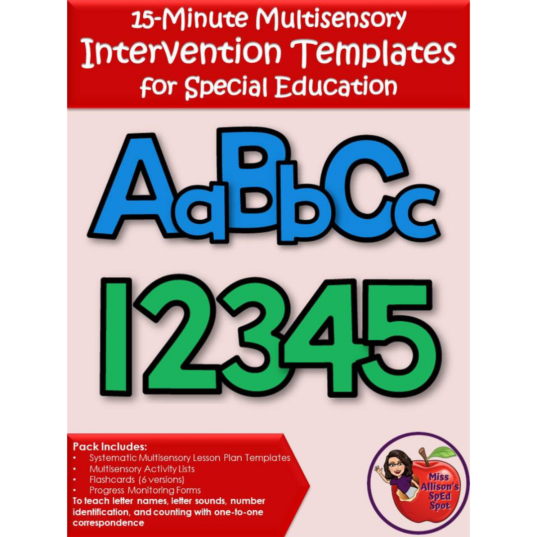 Multisensory Math and Reading Intervention Printable