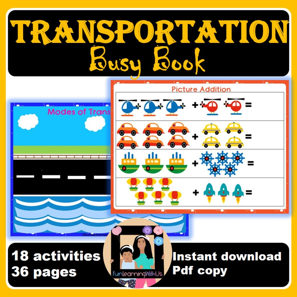Transportation Preschool Activity Book Printable