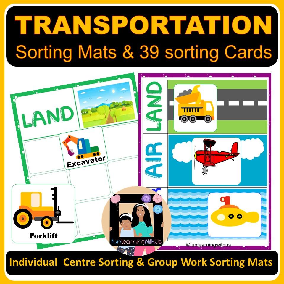 Preschool Transportation Sorting Mats and Printable PDF Activities