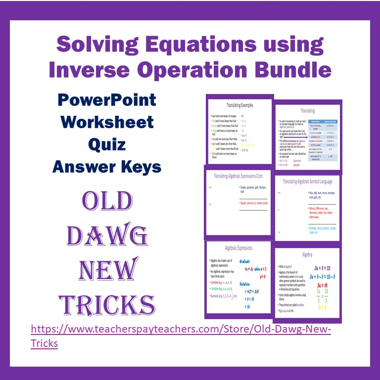 Middle School Math Inverse Operations PowerPoint Worksheets Quiz