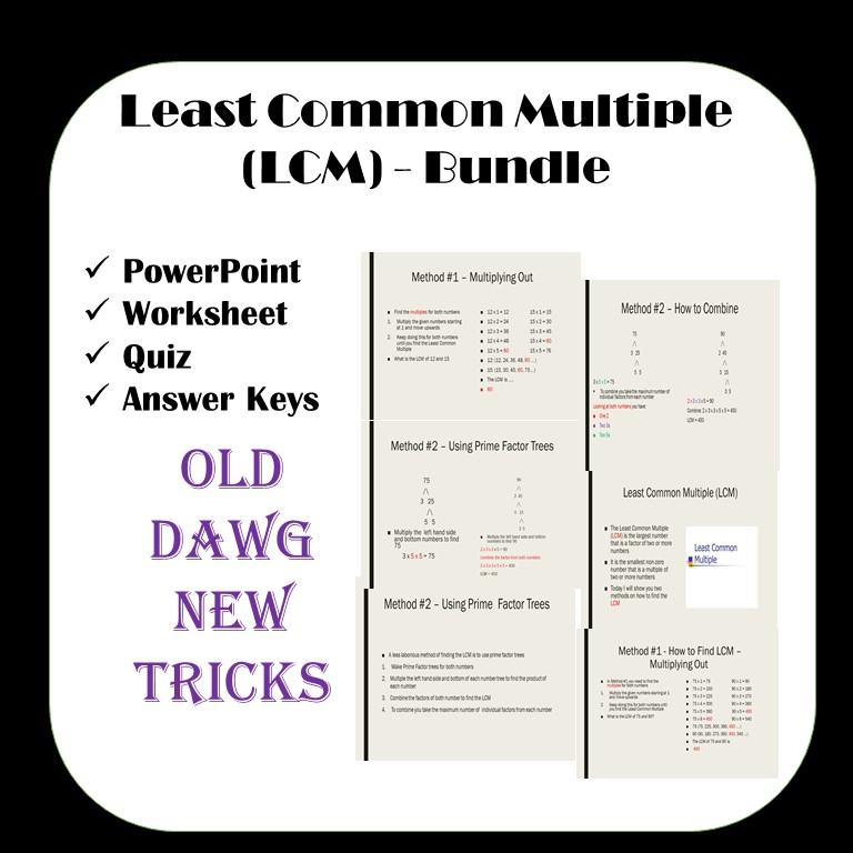 Least Common Multiple Worksheets PowerPoint and Quiz