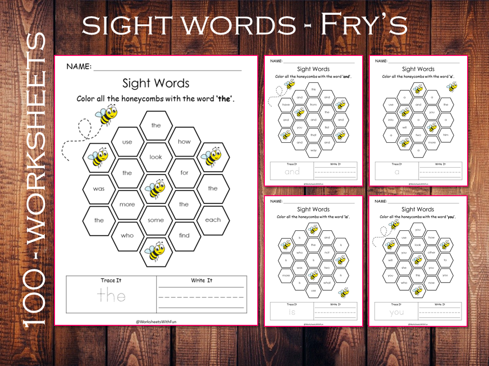 Printable Fry Sight Word Worksheets