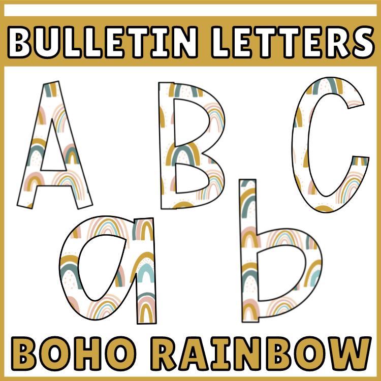 Bulletin Board Letters Boho Rainbow Classroom Deco