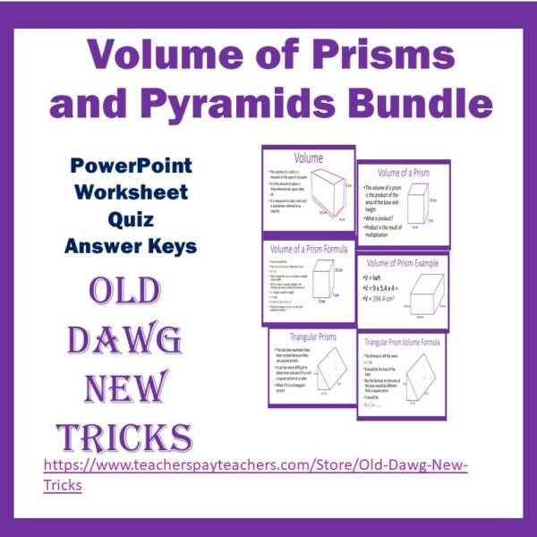 Middle School Math Volume of Prisms and Pyramids PowerPoint and Worksheets