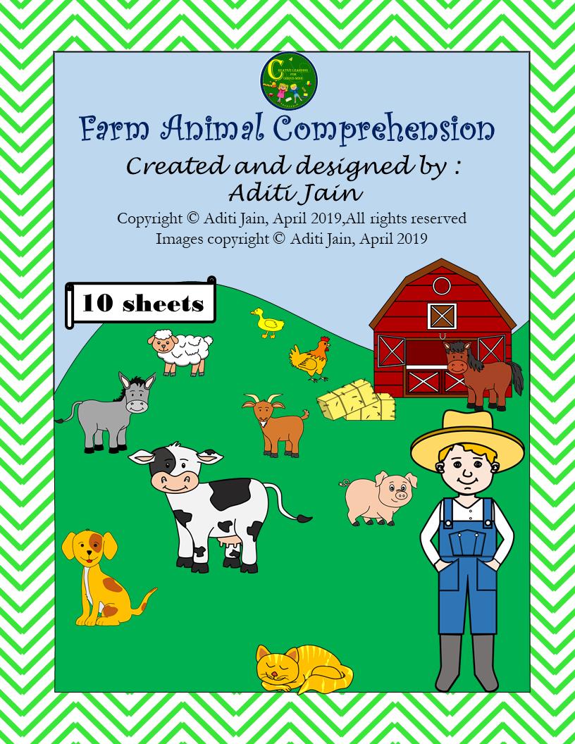 Reading Comprehension Printable Worksheets - Farm Animals
