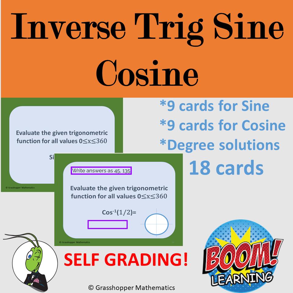 Inverse Trig Sine Cosine Boom Cards