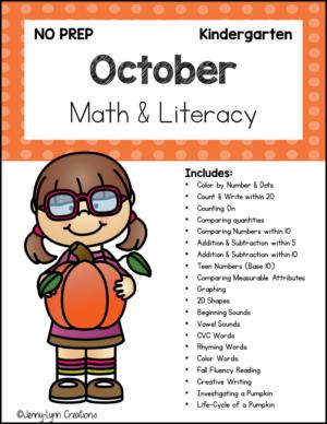 October Kindergarten Math and Literacy Printable Workbook
