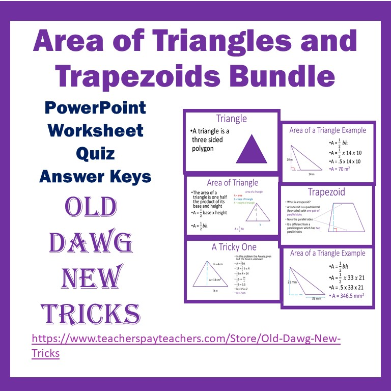 Area of Triangles and Trapezoids PowerPoint and Printable Worksheets
