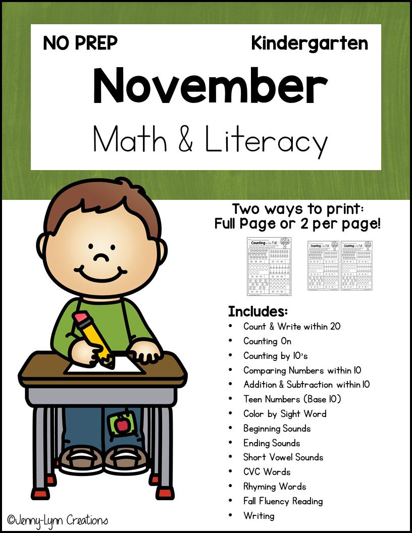 Kindergarten November Math and Literacy Printable Workbook