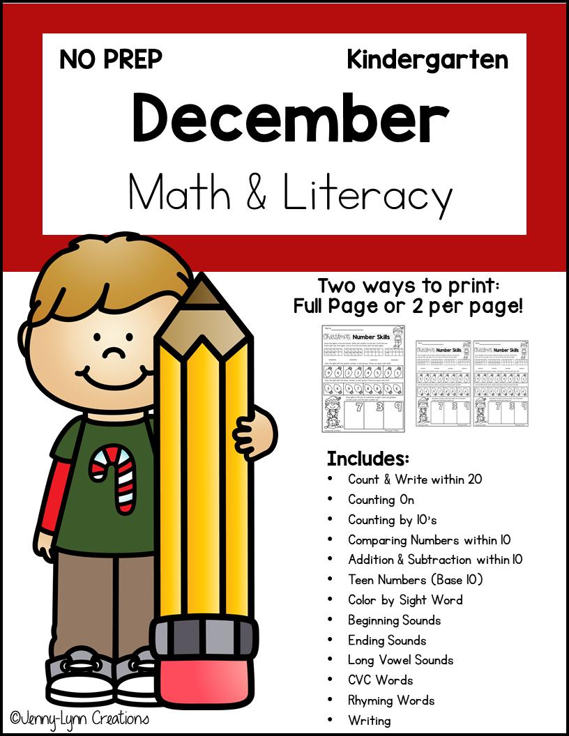 Kindergarten December Math and Literacy Printable Workbook