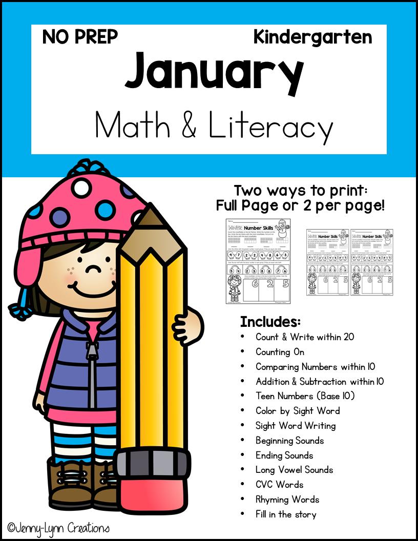 Kindergarten January Math and Literacy Workbook