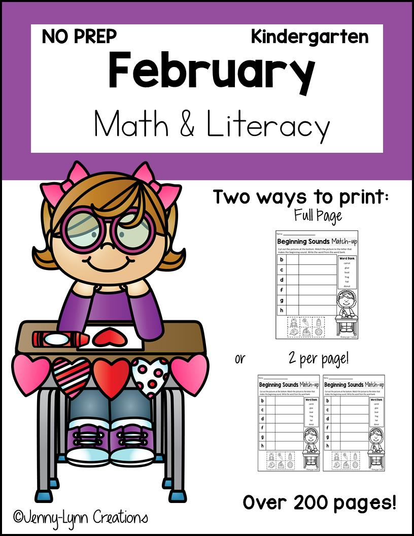 Kindergarten February Math and Literacy Printable Workbook