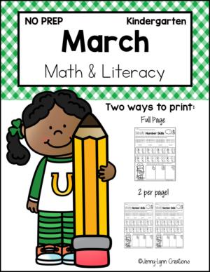 March Kindergarten Math and Literacy Printable Workbook