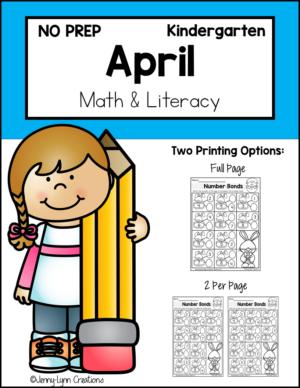 Kindergarten April Math and Literacy Workbook