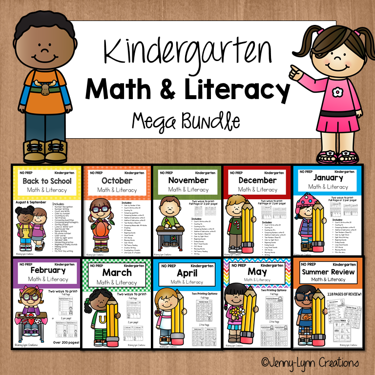 Kindergarten Math and Literacy All Year Printable Worksheets