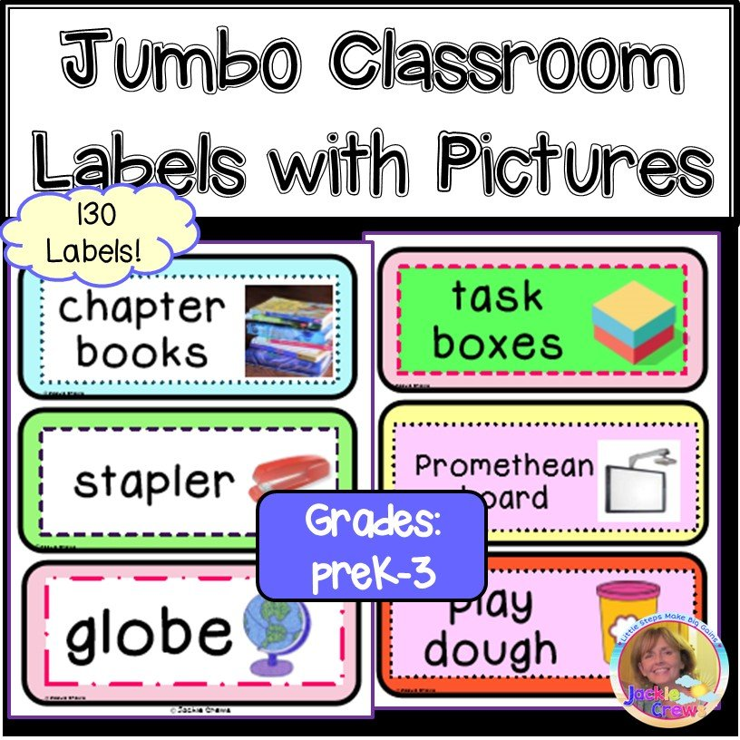 Printable Jumbo Classroom Labels with Pictures