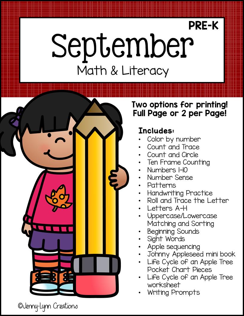 Preschool September Math and Literacy Printable Workbook