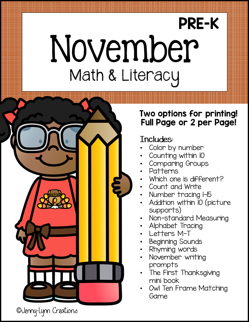 Preschool November Math and Literacy Workbook