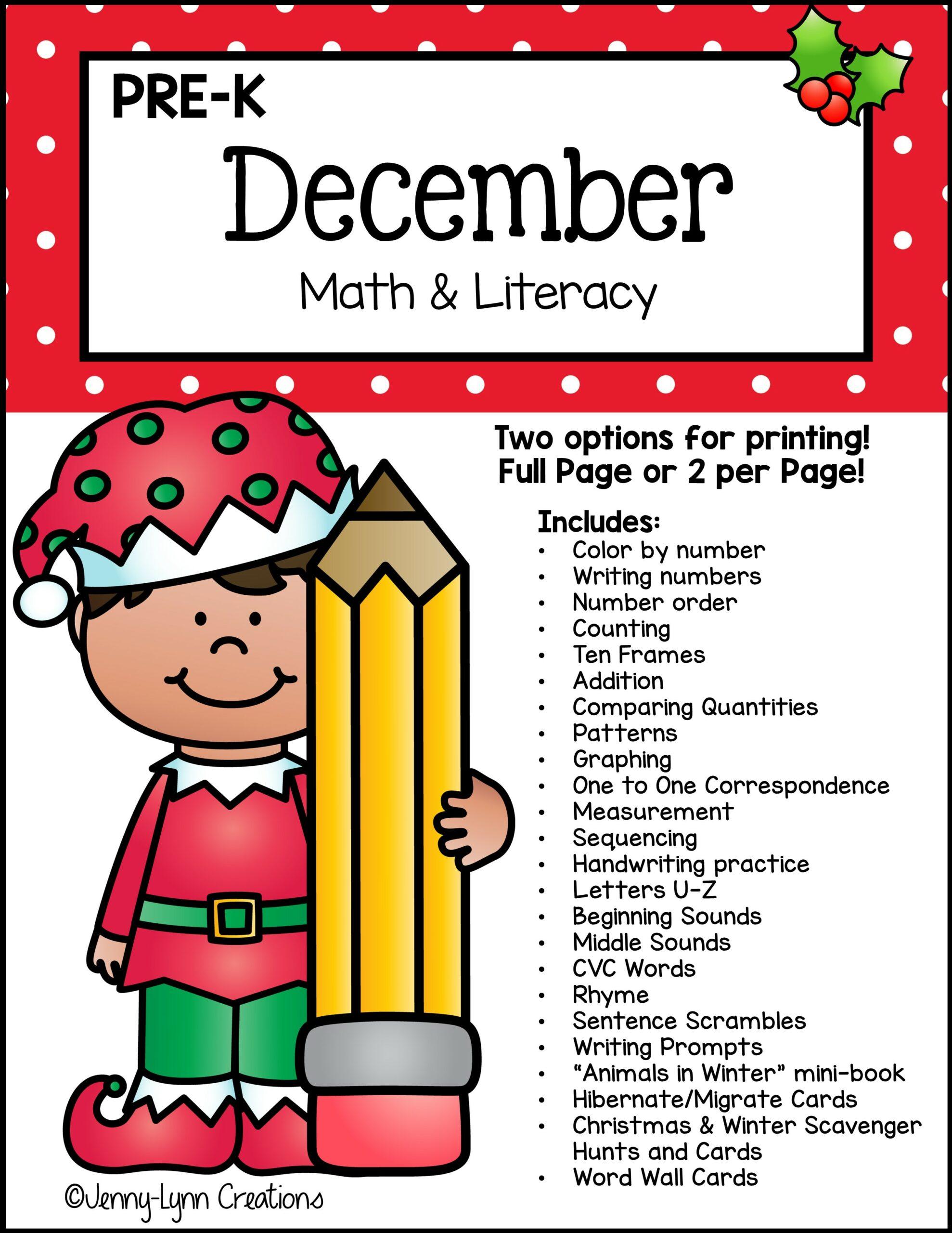 Preschool December Math and Literacy Workbook