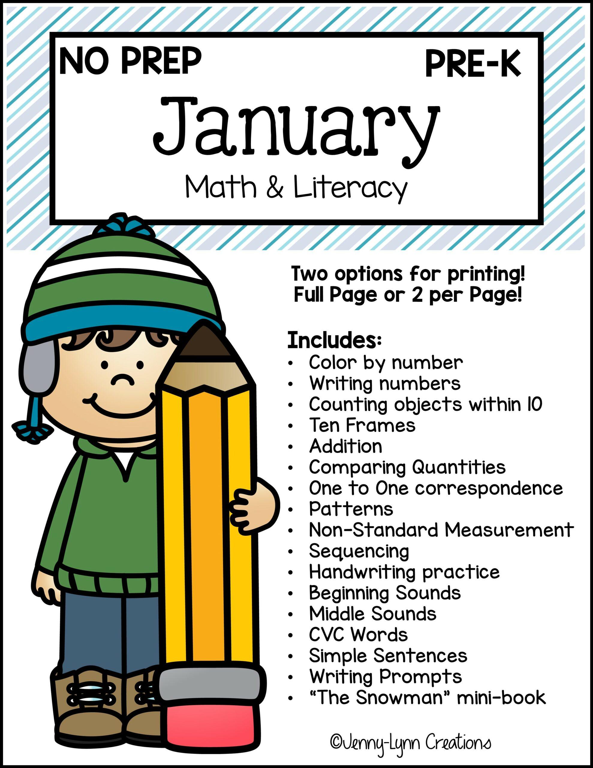 Preschool January Math and Literacy Printable Workbook