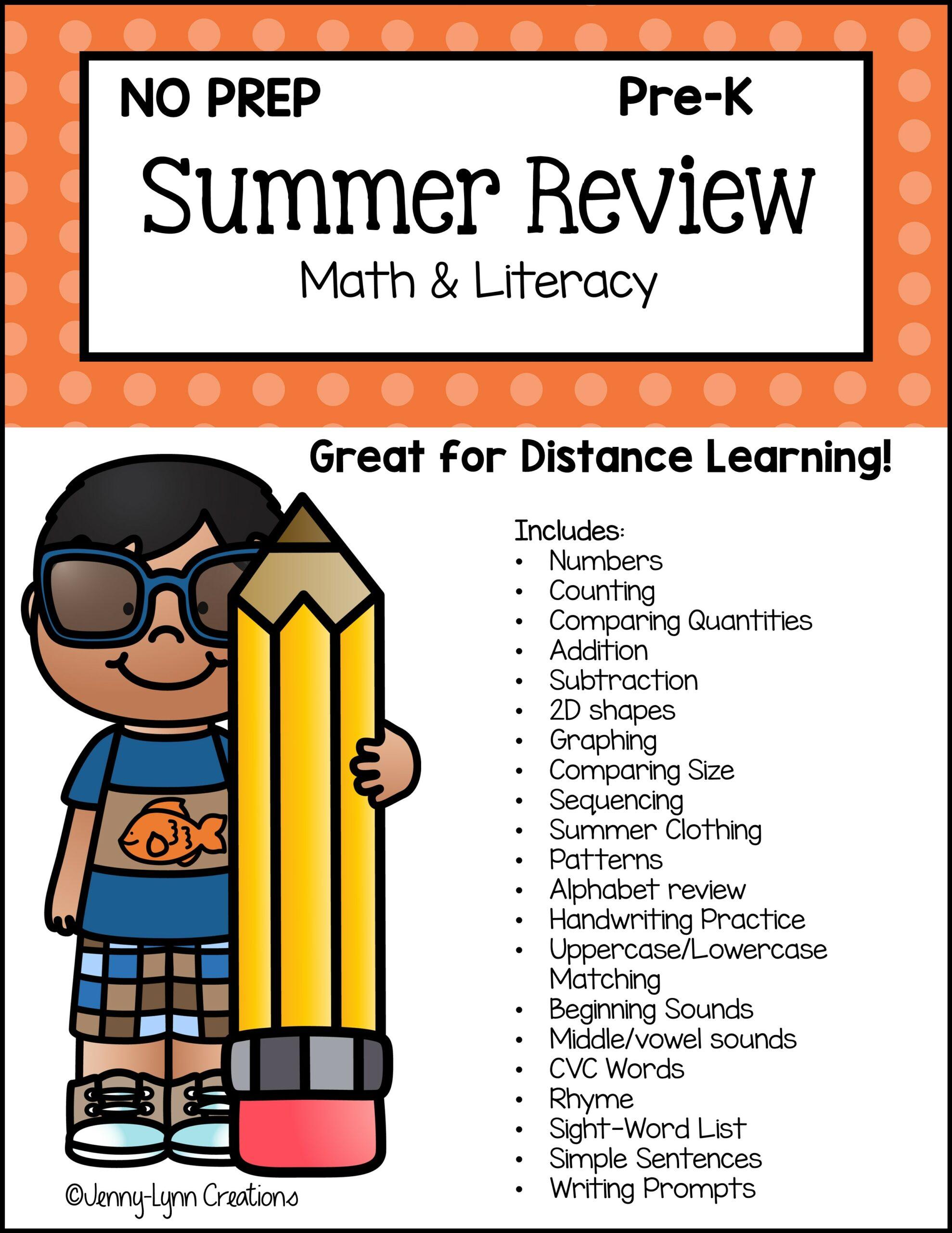 Preschool Summer Review Math and Literacy Workbook Printable
