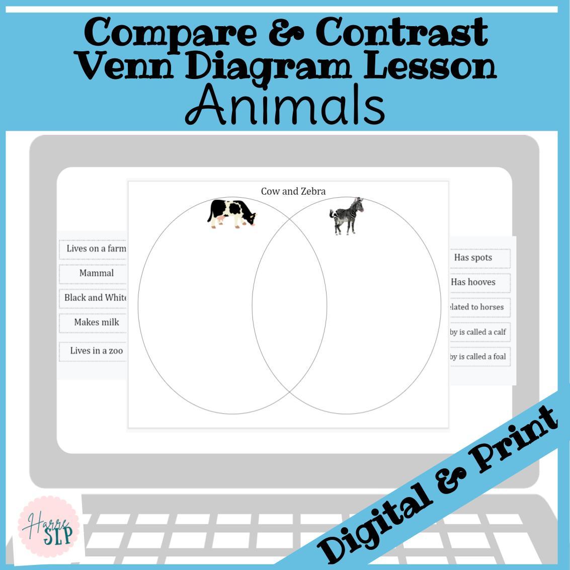Venn Diagram Compare and Contrast Animals Lesson