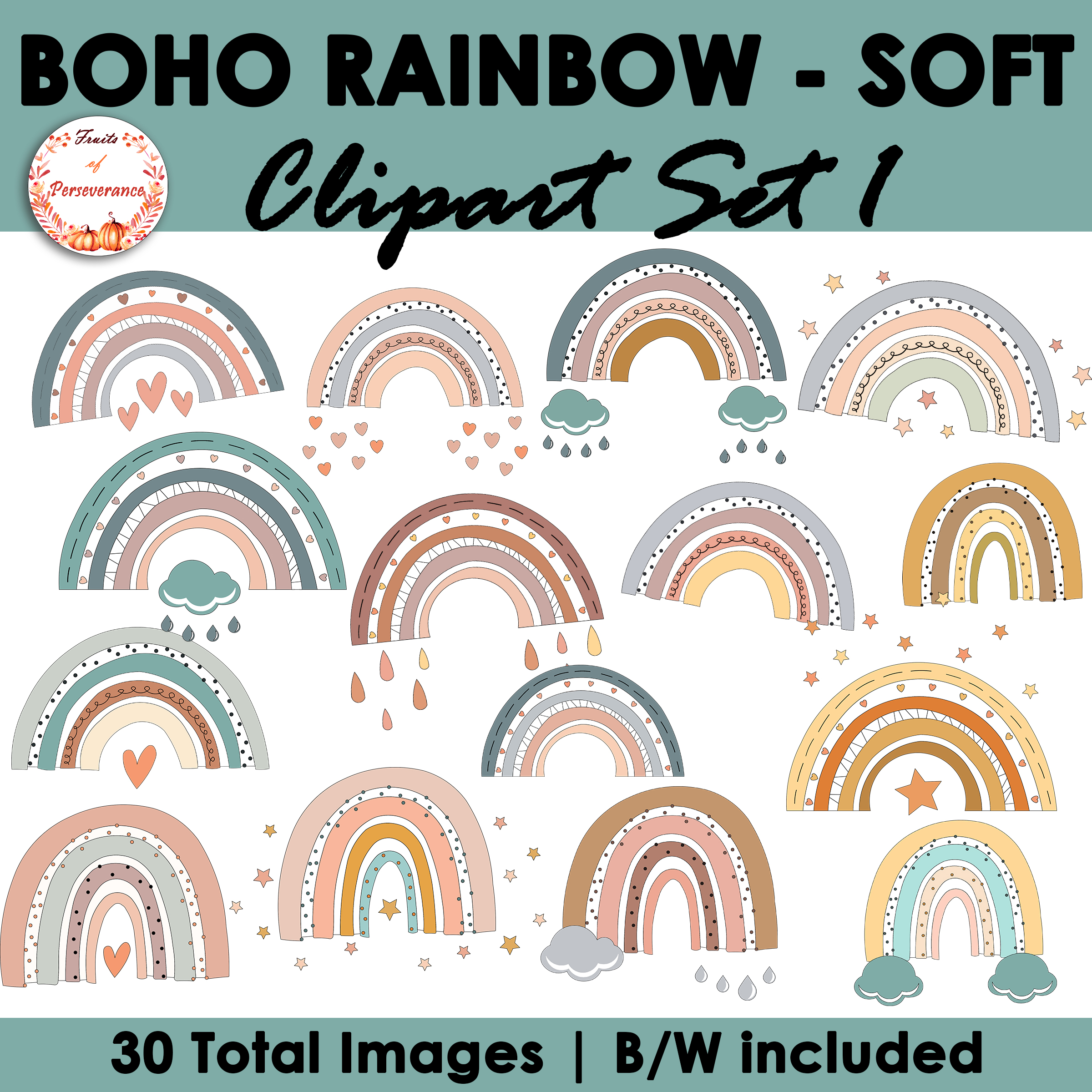Boho Rainbow Clipart Pastel Set