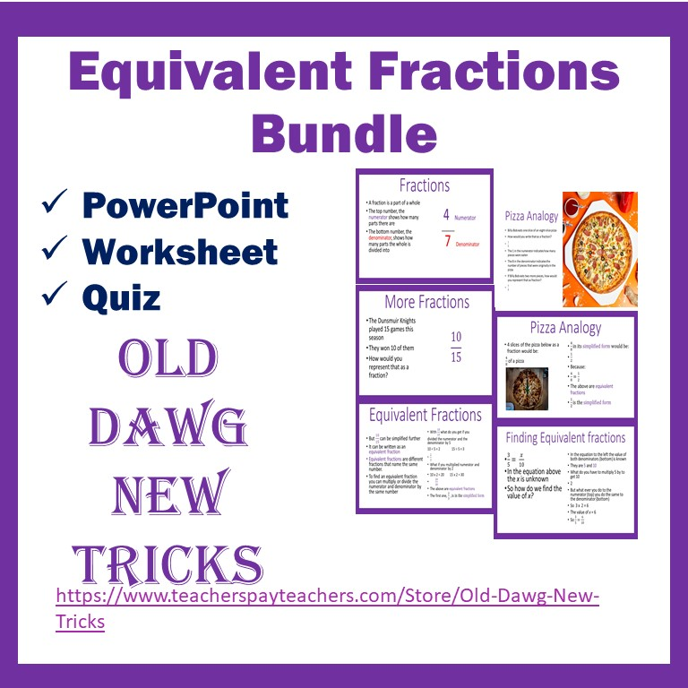 Equivalent Fractions Math PowerPoint and Printable Worksheets