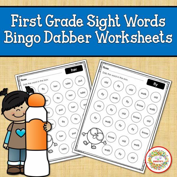 First Grade Sight Word Bingo Dabber Printable Worksheets