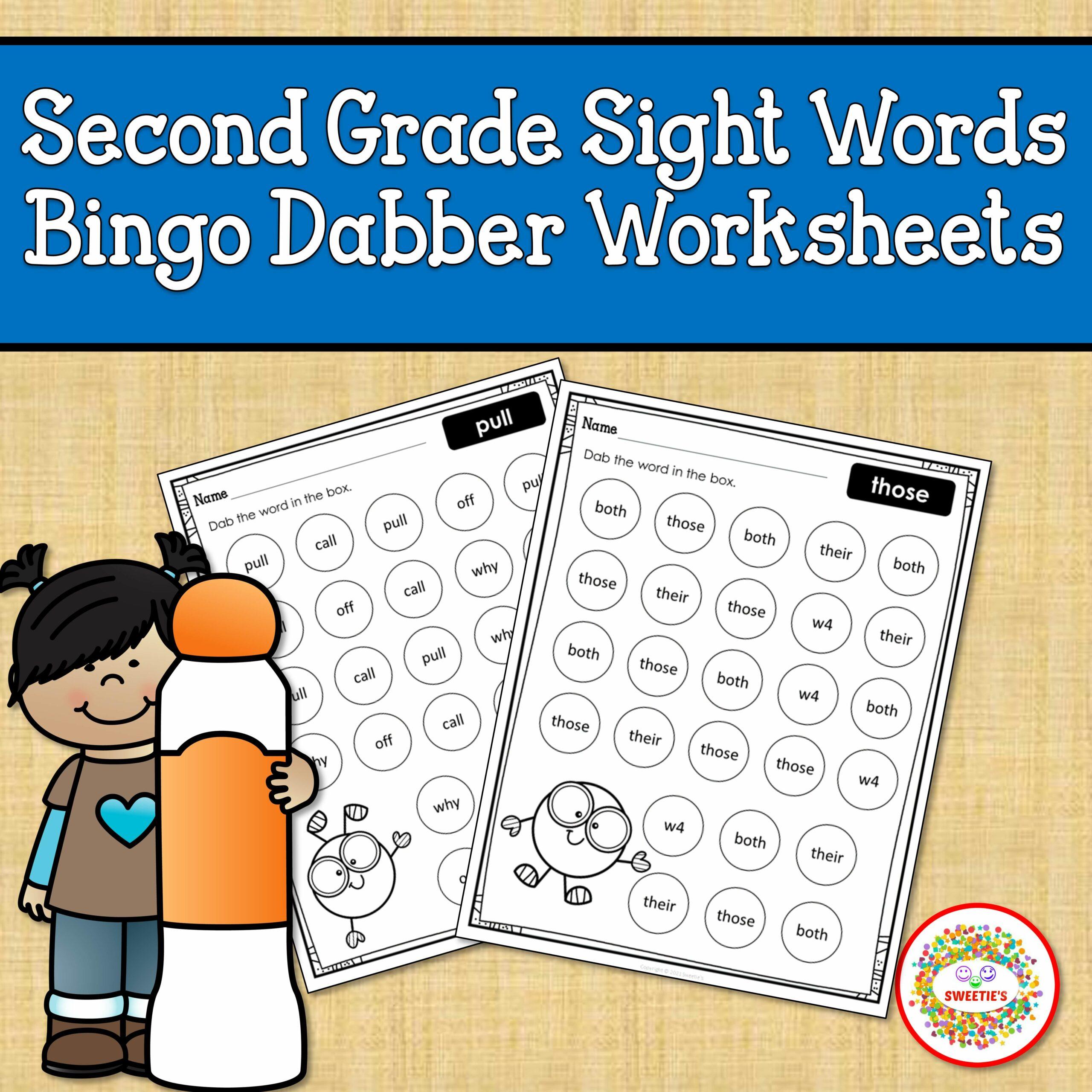 Second Grade Sight Word Bingo Dabber Worksheets