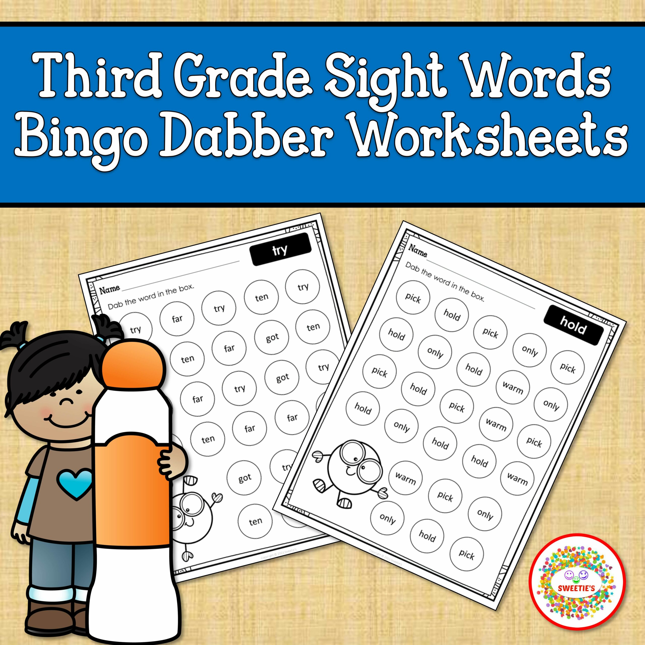 Third Grade Sight Word Bingo Dabber Worksheets