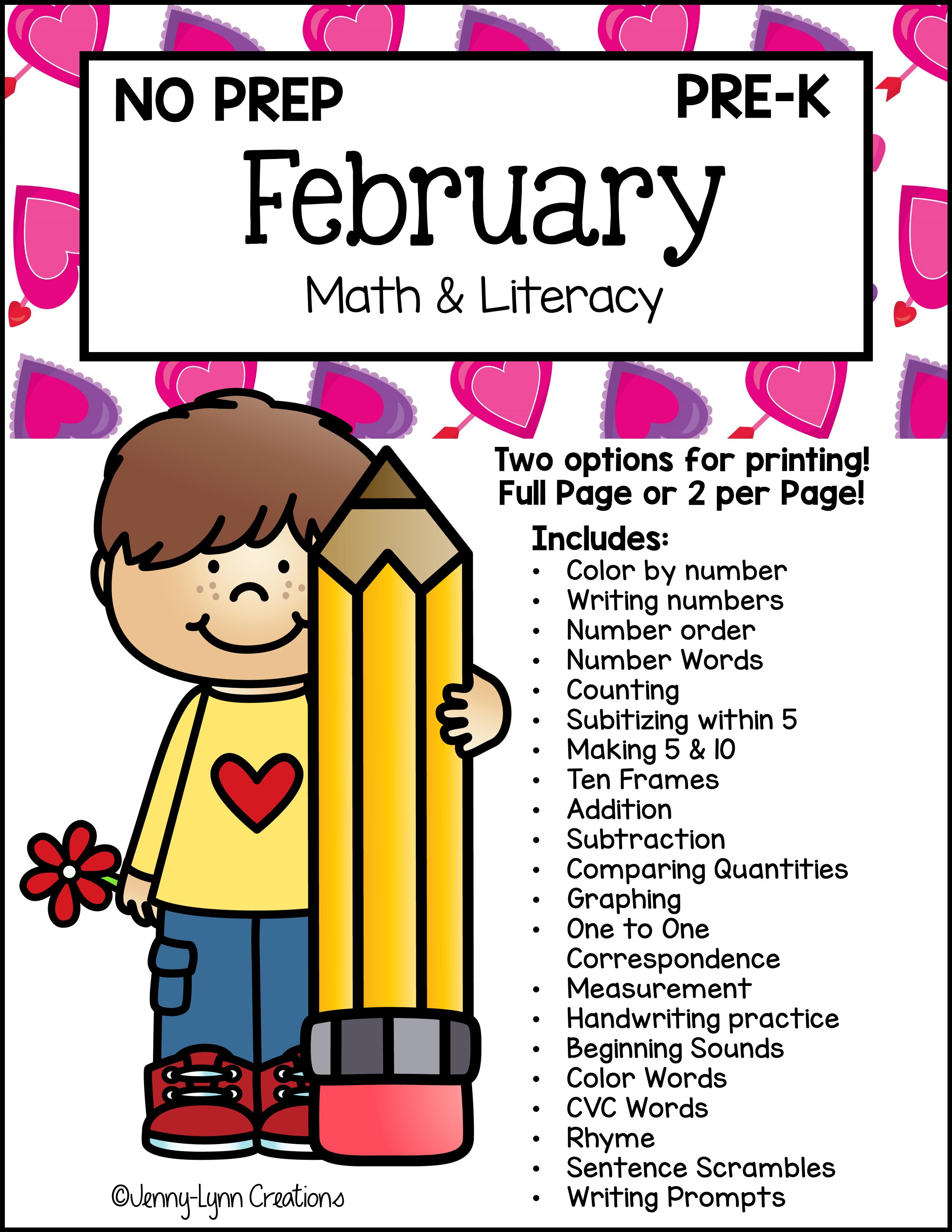 Preschool February Math and Literacy Workbook - Printable PDF