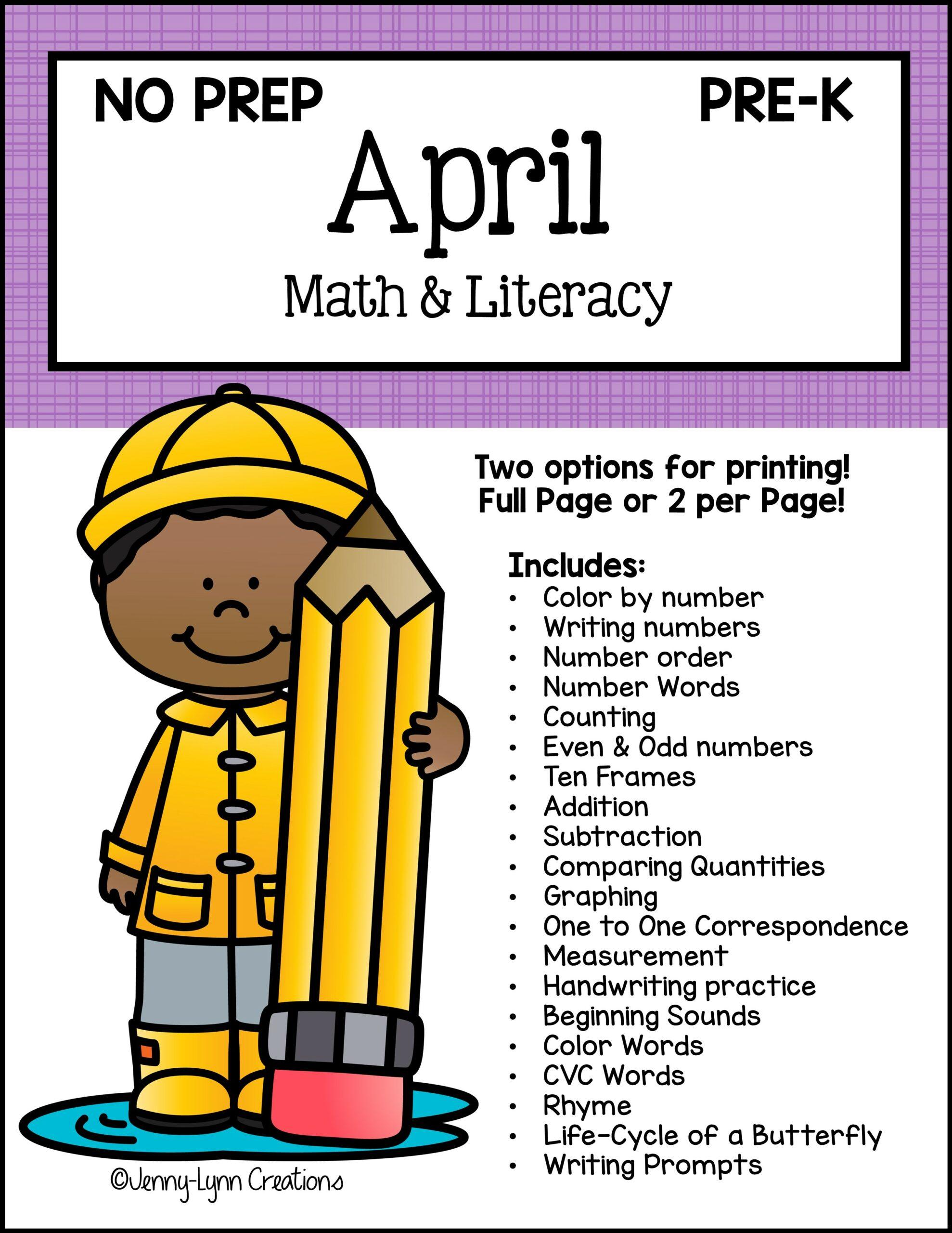 Preschool April Math and Literacy Workbook Printable PDF file