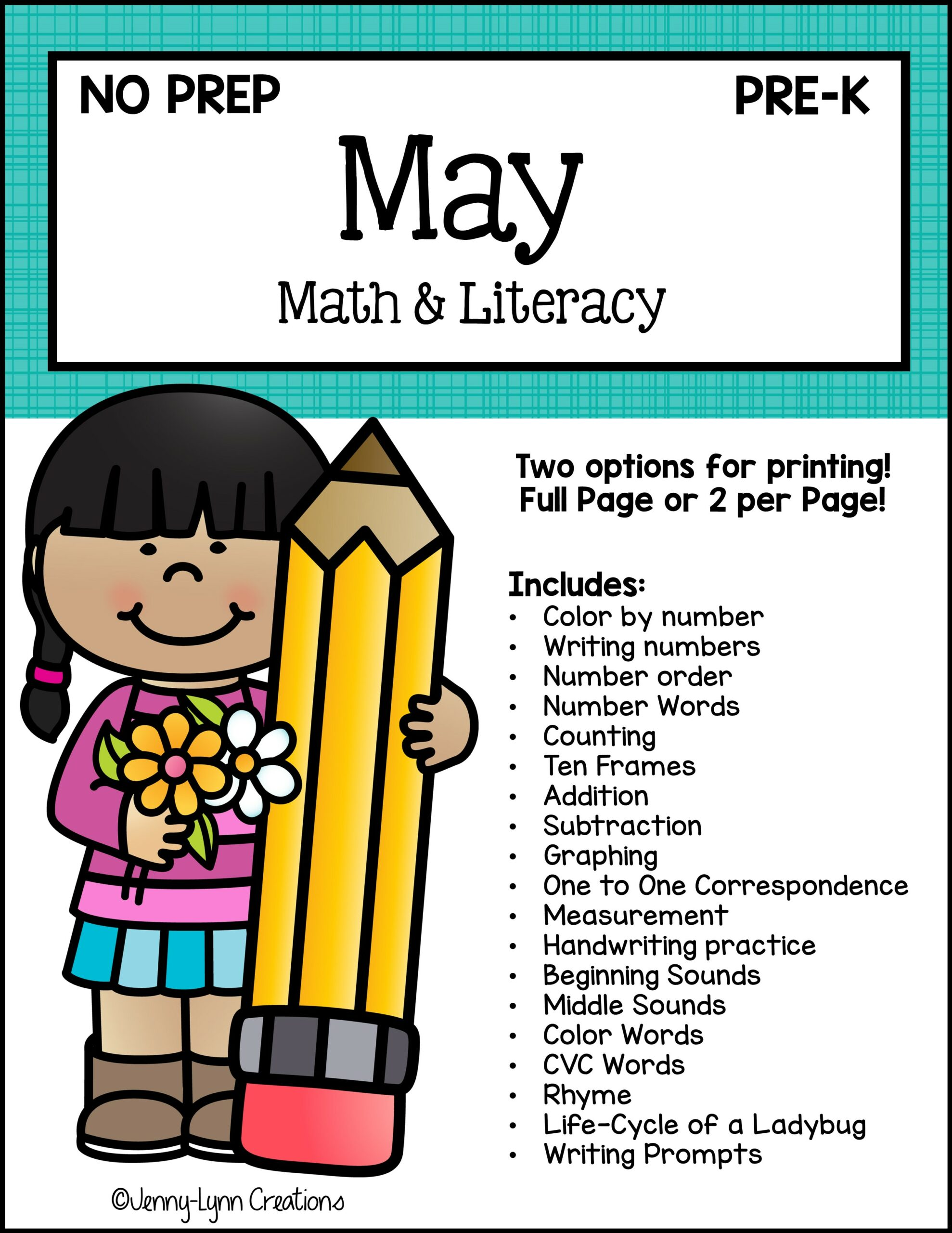 Pre-K May Math and Literacy Workbook