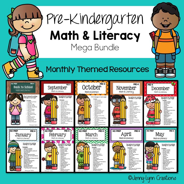 Pre-Kindergarten Math and Literacy All Year Workbook as Printable PDF