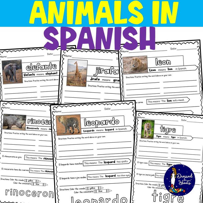 Animals in Spanish - Printable Worksheets and Boom Cards