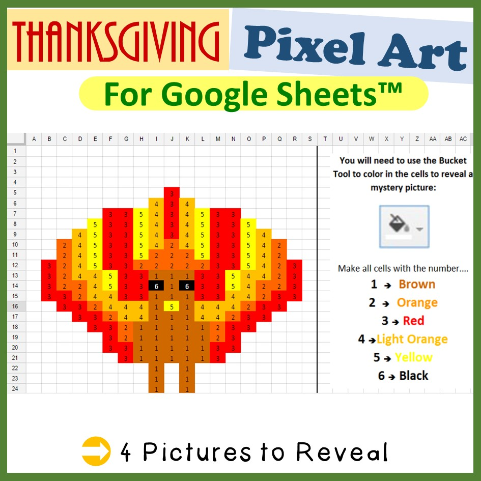 Thanksgiving Mystery Pictures for Google Sheets™