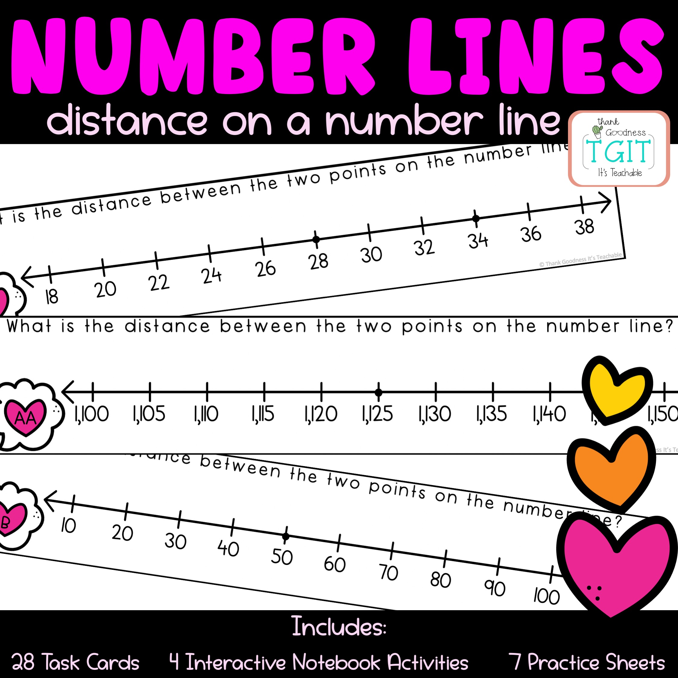 Valentine's Day Number Line Math Activities Printable