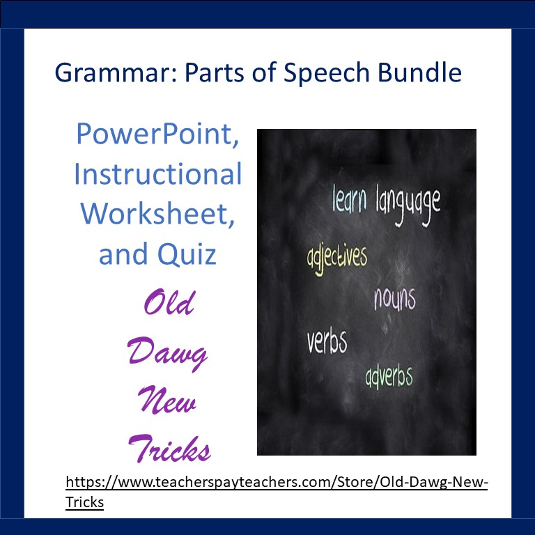 Parts of Speech PowerPoint and Printable Worksheets PDF