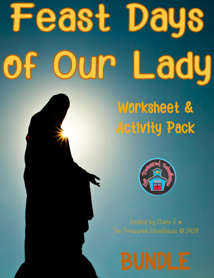 Feast Days of Mary Worksheet & Activity Pack BUNDL