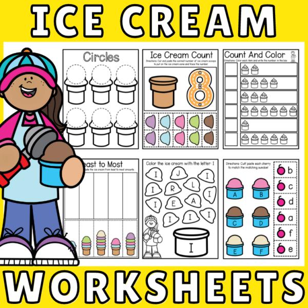 Kindergarten Ice Cream Theme Math and Literacy Printable Worksheets