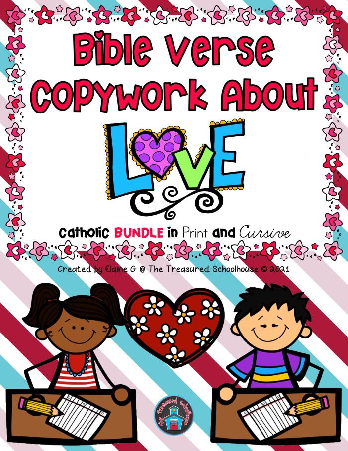 Bible Verse Copywork About Love BUNDLE in Cursive