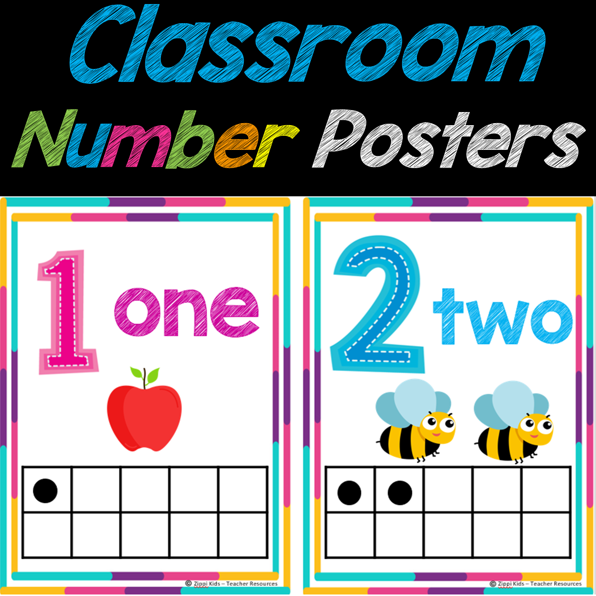 Colorful Classroom Number Posters to Print